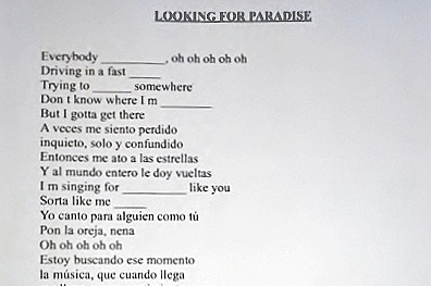Una canción nueva: looking for paradise.
