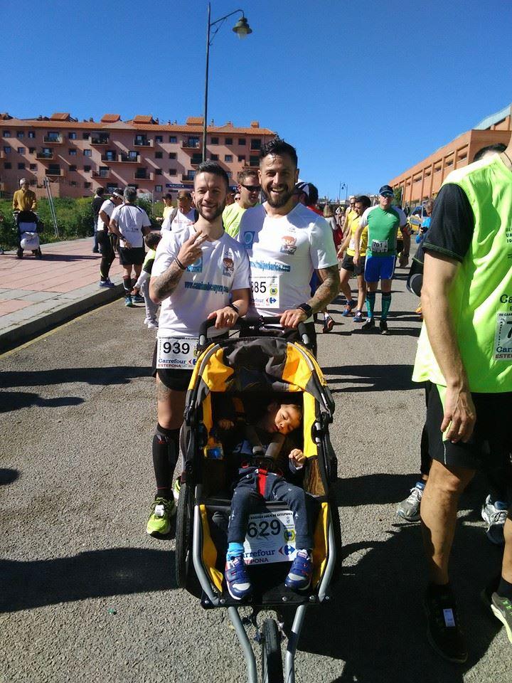 Pascual Fernández, Yeray y su padre, en la carrera.