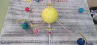 El sol amarillo y los planetas girando alrededor